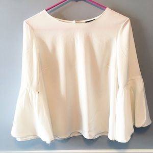 TOPSHOP White Bell Sleeve Blouse